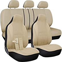 OxGord Car Seat Cover - Poly Cloth Solid Beige with Front Low Bucket and 50-50 or 60-40 Rear Split Bench - Universal Fit for Cars, Truck, SUV, Van - 10 pc Complete Set