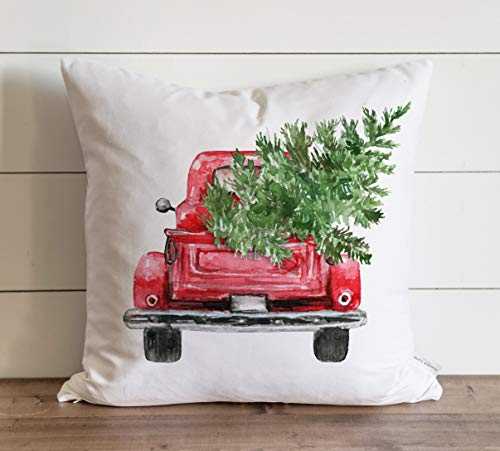 Promini Christmas Pillow Cover Red Truck Farmhouse Decor Xmas Pillows Holiday Pillow Covers Christmas Decor Christmas Throw Case Cushion Pillowcase for Sofa Home Decor 20 x 20 Inches