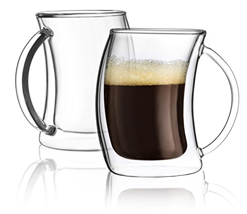 JoyJolt Caleo Collection Double Wall Insulated Glasses Espresso Cups Set of 2 (2-Ounces 60 ML )