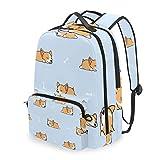 Mochila con bolsa cruzada desmontable, Corgi Puppy con hueso, mochila para ordenador, bolsa de libro para viajes, senderismo, acampada