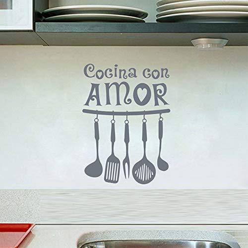 yiyiyaya Vinilo español Etiqueta de La Pared Cocina con Amor Arte ...