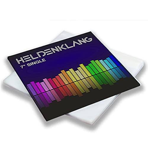 Heldenklang® 7' Schallplatten Hüllen - Extra dicke Single Schutzhüllen - Sehr transparent, hergestellt in Deutschland - 50 Stück