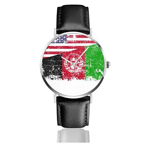 Afghanische Wurzeln, amerikanische Flagge, Afghanistan, Geschenk, klassisch, lässig, Quarzuhr, Edelstahl, schwarzes Lederband
