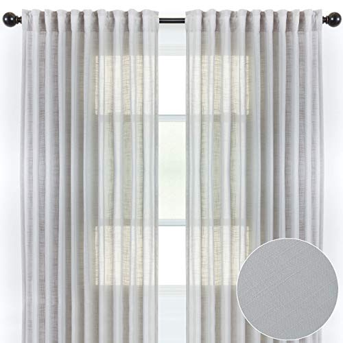 Chanasya 2-Panel Soft Textured Semi Sheer Curtains for Window Living Room Bedroom Kitchen Patio Office - Natural Light Filtering Privacy Window Treatment Drapes - 52 x 63 Inches Long - Silver