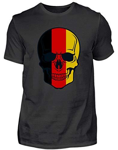 Belgian Skull - doodshoofd België kleuren - zwart rood goud - zwart rood goud - heren shirt