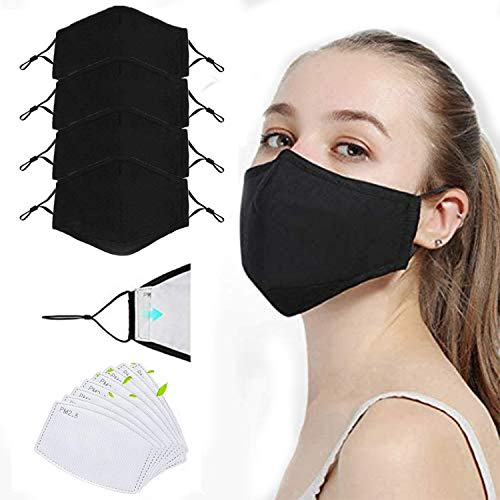 Reusable Face Bandanas, Adjustable Washable Replaceable, Protection against dust, pollen, irritant gas, haze, particulate matter(4pcs + 8 Filter)