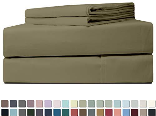 Five Elements 400-Thread-Count 100% Cotton Sheet Set Light Grey Queen Size, 4-Piece Extra Long-Staple Luxury Hotel Best Bedding Bed Sheets, Soft & Silky Sateen, Fits Mattress Upto 18'' Deep Pocket