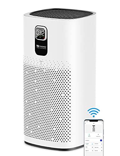 Proscenic Luftreiniger Air Purifier App Steuerung, 99,97{4be03d73bb15b9a8e7a01595696162d71b528873accc56fdc760933bedc27ab1} Filterleistung, Hepa 13 Filter, CADR 460m³/h bis zu 90m² große Wohnung, Allergiker Raucher gegen Staub Pollen Geruch, A9 Weiß