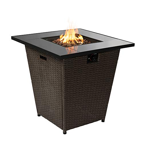Peaktop Firepit Outdoor Gas Fire Pit Rattan with Lava Rock & Cover HF30200AA-UK, Espresso Brown