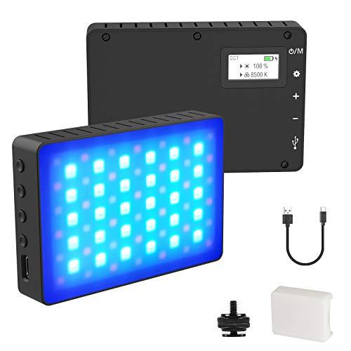 Sumeber RGB LED-Videoleuchte 2500K ~ 8500K 0-1530 °Vollfarbkamerabeleuchtung 0-100% Fotolicht mit eingebautem 4000 mAh Akku Klein Tragbar Mini Fotolampe für DSLR Camcorder Smartphone