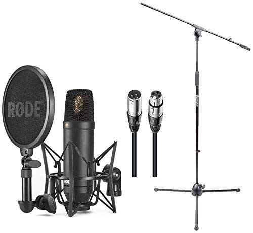 Rode NT1 Cardioid Condenser Microphone Bundle with Mic Stand, Mic Cable, Pop Filter, and Polishing Cloth