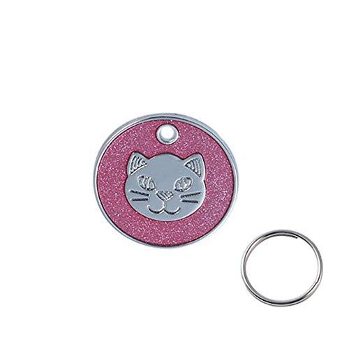 Lai-LYQ huisdier sleutelhanger ronde metalen hond kat kraag naam tag graveren ID eigenaar adres sleutelhanger beste cadeau, roosrood