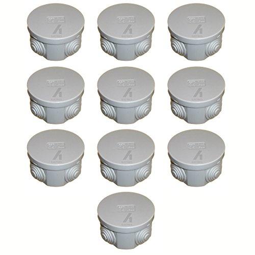 Abzweigdose, rund, 65 mm, IP44, spritzwassergeschützt, mit Gummidichtungen und Schnappdeckel, 65 x 35 cm, Grau, 10 Stück