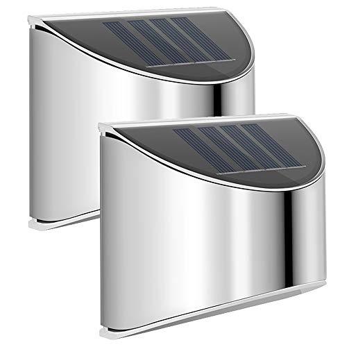 Solarlampen für Außen, LED Solar Wandleuchten Edelstah Ausenbeleuchtung Wandleuchte Solar Stainless Steel Sicherheitswandleuchte Wasserdichte Solarleuchte Garten für Pfad Zaun Wand Garage (2 Stück)