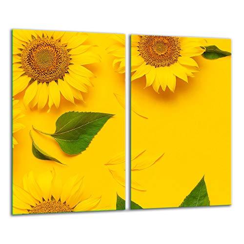 TMK | 2 placas para cubrir la vitrocerámica de 2 piezas de 30 x 52 cm, para cocina eléctrica, inducción, protección contra salpicaduras, tabla de cortar | flores amarillas