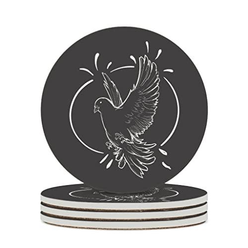 Facbalaign Posavasos de cerámica con diseño de pájaro blanco y negro, con base de corcho resistente a los arañazos, redondo, inodoro, 6 unidades, color blanco