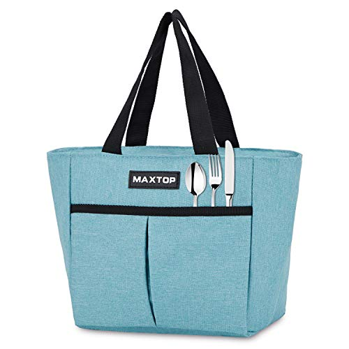 MAXTOP Insulated Lunch Bags for Women,Thermal Lunch Tote Bag with Front Pocket,Perfect Gifts for Women for Office Work Picnic Shopping(Light Blue (Theft-Proof Pocket), Small)
