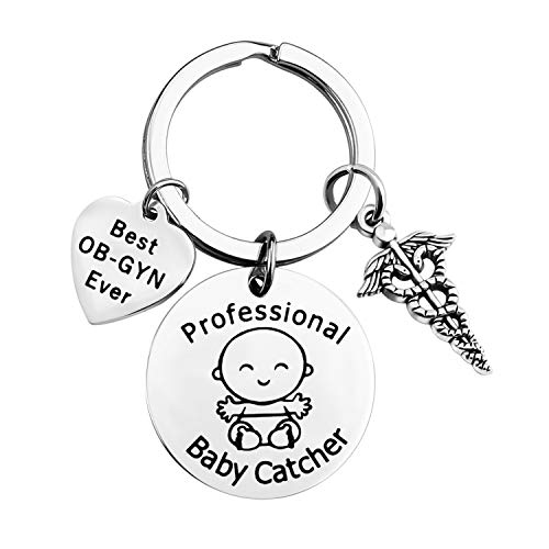 FOTAP Ob-GYN Gifts Best OB-GYN Ever Keychain Personalized OBGYN Gift Baby Doctor Gift Thank You Gift for OBGYN (Baby Catcher Keychain)