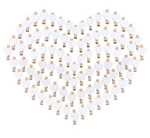 ABSOFINE 100 Herz Wäscheklammer Holz Mini klein Holzklammern 3,5cm Foto Handwerk Clips Deko Patchwork Klammern Dekoklammern Holzwäscheklammern Zierklammern in Weiss