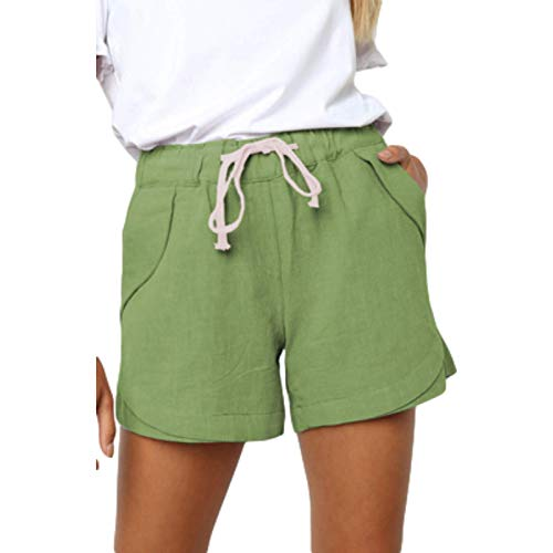 Pantalones Cortos de Mujer Pantalones Cortos de Cintura elástica con cordón elástico Informal de Verano Pantalones Deportivos cómodos y versátiles 3XL