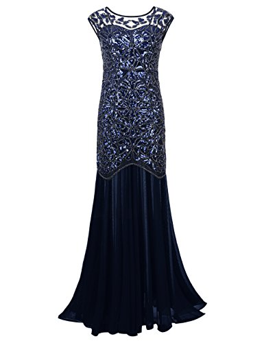 PrettyGuide Women 's 1920s Black Sequin Gatsby Maxi Long Evening Prom Dress, Navy - 18/20 Plus