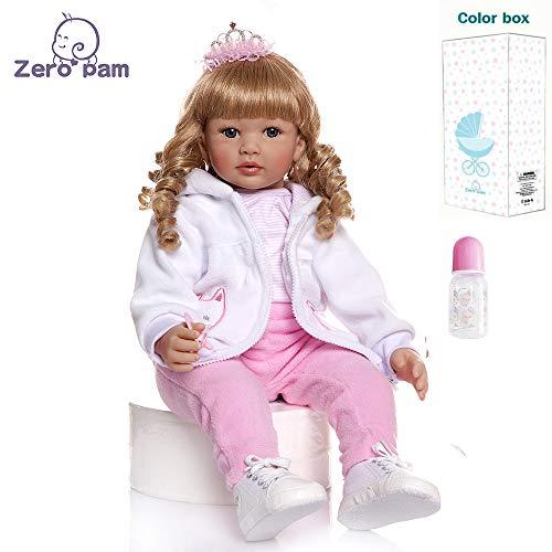 Zero Pam 61CM Realista Niña Toddler Reborn Bebé Muñecas Niñita - Chica Rubia - Vinilo de Silicona Muñecos Reborn Baby Dolls Niña española Niños Juguetes Conjunto