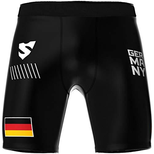 SMMASH Germany 3.0 Pro Shorts Vale Tudo Herren, Kampfsport Kurze Hose, Perfekt für BJJ, Krav MAGA, MMA, Atmungsaktiv und Leicht Trainingshose für Männer, Boxershorts, Hergestellt in der EU (L)