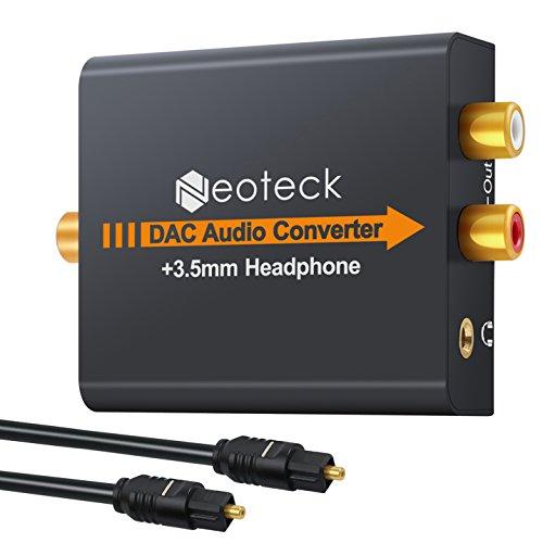 Neoteck Convertidor Digital a Analágico Óptico a RCA Coaxial Óptico Toslink Señal a Adaptador de Audio Analágico RCA Aleación de Aluminio Salida de Jack de 3,5 mm para HDTV Blu Ray DVD Sky HD PS3