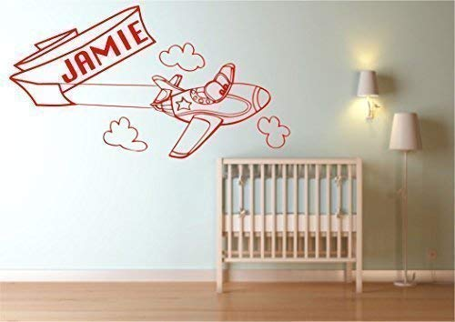 Wall Smart Designs Personalisiert Flugzeug Plane Name Wandaufkleber Schlafzimmer WSD346 - Dunkelrot Glanz, Ca. 96cm X 52cm