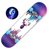 MJY Skateboard Complete Skateboard-Non-Slip Deck, 7 Layers of Maple Leaf Planks, Skateboarding for Teenager Beginner Children Adult Scooter Professional Four Wheel Flash Skateboard 31X8 in