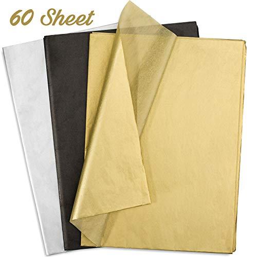 Whaline 60 Blatt Seidenpapier, Blatt 50x70 cm, Geschenkpapier zum Basteln und zur Dekoration (Gold, Schwarz, Silber)