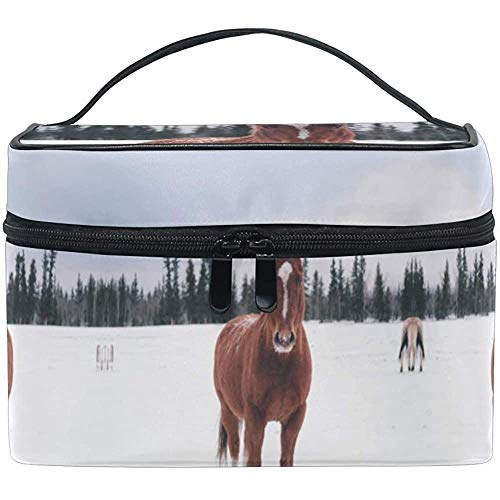 Trousse à Maquillage Brown Horse Snow Art Travel Cosmetic Bags Organizer Train Case Toiletry Make Up Pouch
