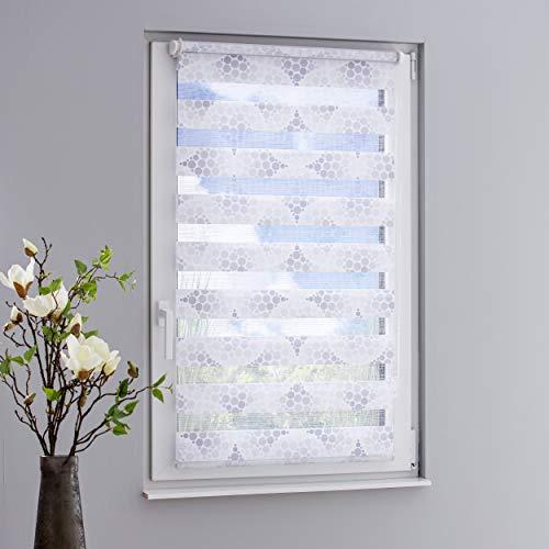 DECOLIA Klemmfix-Duorollo/Doppelrollo Bedruckt mit verstellbaren Klemmträgern, Breite/Höhe: 45 x 150 cm, Design: Kreise