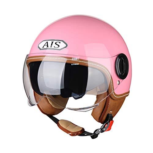 FLY® Demi-casque, Casque De Moto Pour Hommes Et Femmes, Casque Universel Pour Quatre Saisons, Double Miroir (Couleur : Pink)