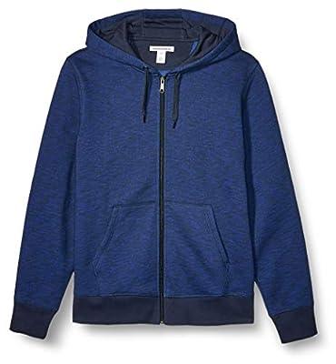 Amazon Essentials Men's Full-Zip Hooded Fleece Sweatshirt, Navy Space-Dye Large