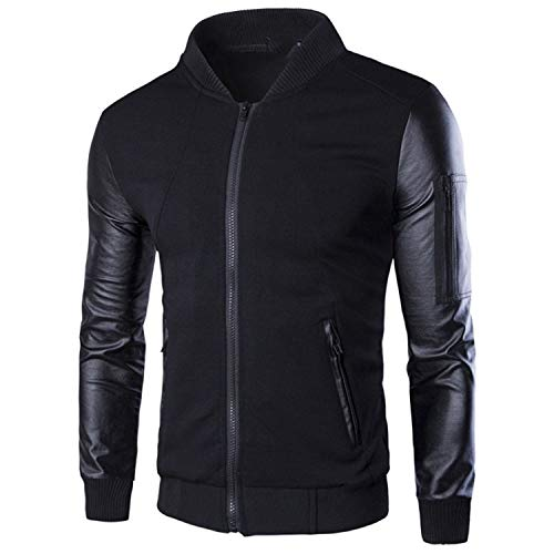 Bomber Jacket Men's Coats Patchwork Leather Men Outerwear Autumn Male Motorcycle Jackets Black L