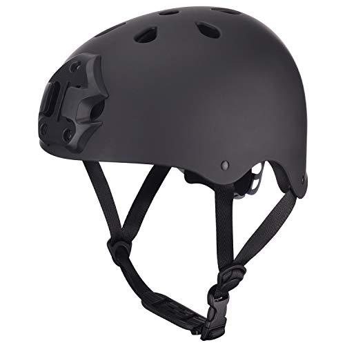 ipoob Adult Kayaking Canoe Whitewater Watersports Helmet with Camera Clamp Mount Plate (Matte Black, Medium)