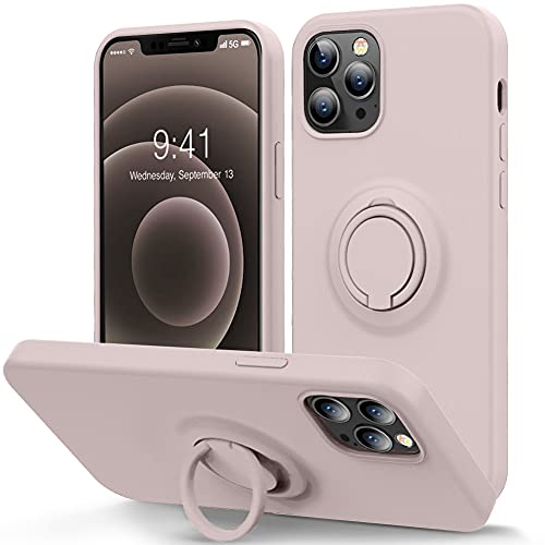 MOCCA Compatible with iPhone 12 Pro Max Phone Case 6.7 inch with Ring Kickstand   Super Soft Microfiber Lining   Anti-Scratch Full-Body Shockproof Protective Case for iPhone 12 Pro Max - Pink Sand