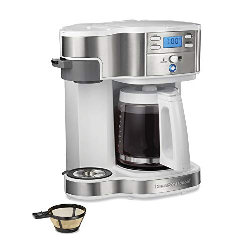 Hamilton Beach 2-Way Brewer Coffee Maker, Single-Serve and 12-Cup Pot, White (49933)