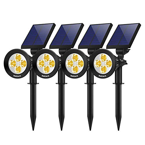 Nekteck 4 Pack Solar Lights,2-in-1 Outdoor Solar Spotlights Powered Adjustable Wall Light Landscape Lighting,Bright and Dark Sensing,Auto On/Off for Yard, Pathway, Walkway, Garden, Driveway
