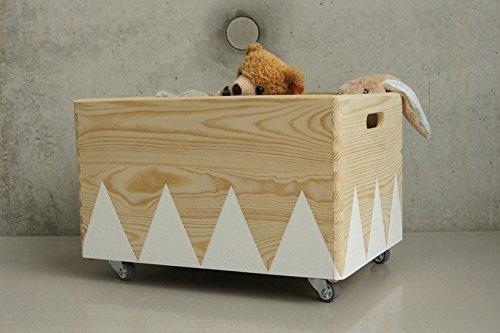 Holz Spielzeugkiste Weiss - Rollen Triangel skandinavisch