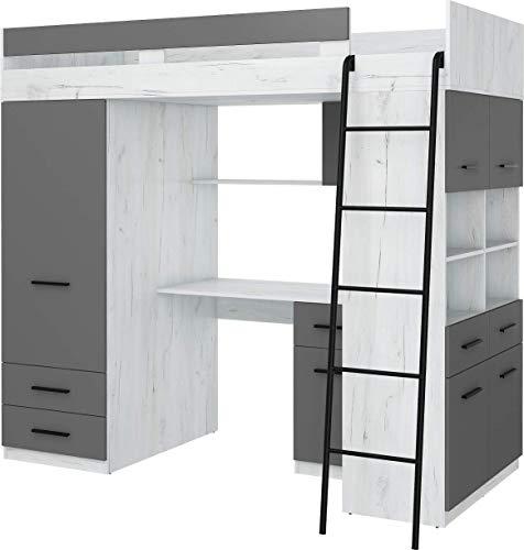 Hochbett mit Schreibtisch, Schubladen, Kleiderschrank und Bücherregal - Level R - (CraftWeiß/Graphite)