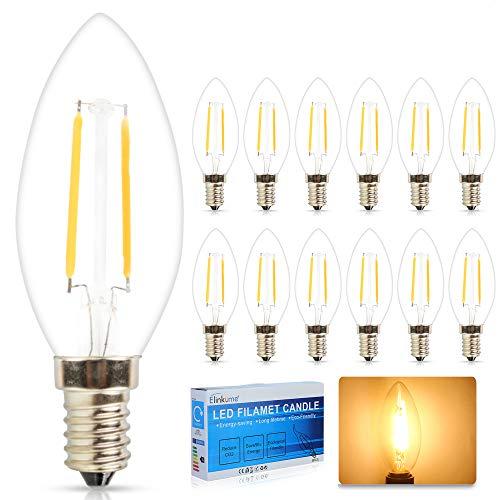 ELINKUME 12X E14 LED Kerzenlicht 2W Warmweiss COB Glühfaden LED Kerze Filament Lampe Fadenlampe LED Candle Light Bulb Flammenspitze Chandelier 230V