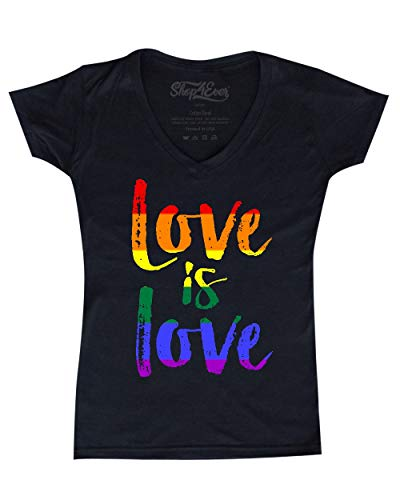 shop4ever Love is Love Women's V-Neck T-Shirt Gay Pride Shirts Large Black 0