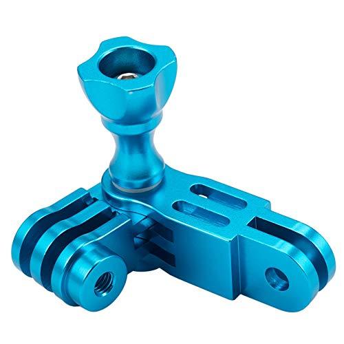 Gfhrisyty CNC aleación de aluminio de tres vías pivote brazo montaje para Hero 1 2 3 3+ 4 5 Session//SJ/GitUp Sport Camera Azul