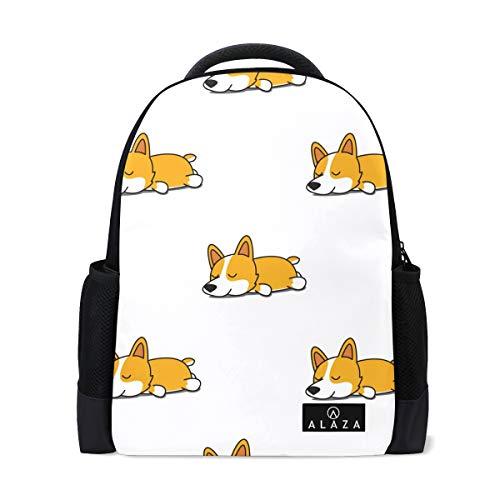 Cute Sleeping Corgi Dog Backpack 14 Inch Laptop Daypack Bookbag for Travel College School