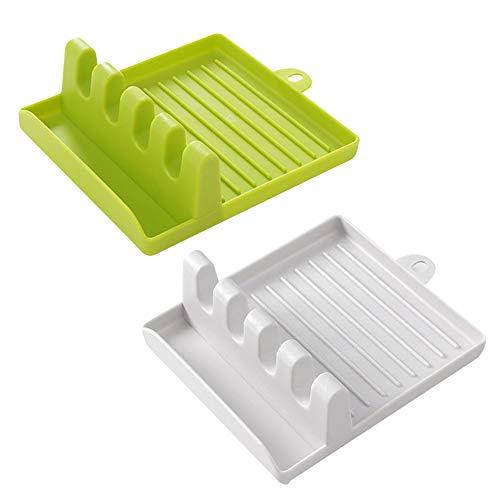 Soporte de silicona para utensilios de cocina, multifuncional para espátula, espátula o cuchara (2 unidades, 1 verde + 1 blanco)