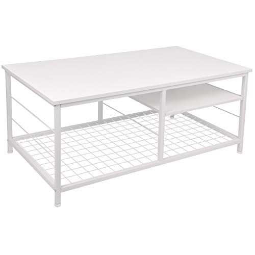 Leopard Coffee Table with Adjustable Shelf, Industrial Coffee Table with Metal Legs for Living Room, Home Office Coffee Table with Adjustable Storage Shelf (White)