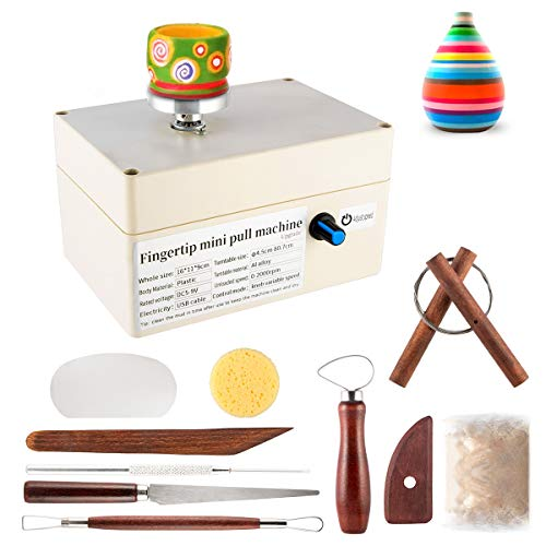 SZCY LLC Pottery Wheel + 1 Bag Ceramic Clay, USB Pottery Machine with 9 Pottery Shaping Tools, 2000 RPM Pottery Wheel Mini Clay Making Pottery Machine Ceramic DIY Craft