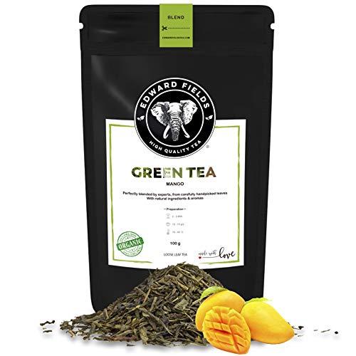 Edward Fields Tea ® - Té verde orgánico a granel con Mango. Té bio recolectado a mano con ingredientes y aromas naturales, 100 gramos, China.